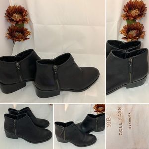 Cole Haan Black Leather Booties with two zippers
